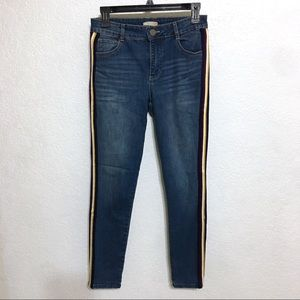 GB ankle skinny denim jeans w/side stripe & fade 5